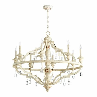 Jaune 8-Light Metal Candle-Style Chandelier Finish: Persian White