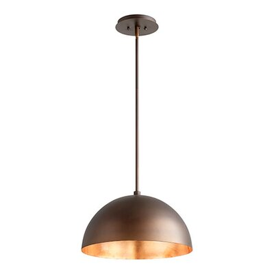 1-Light Mini Pendant Shade Color: Oiled Bronze/Copper Leaf, Size: 10.5 H x 16 W x 16 D