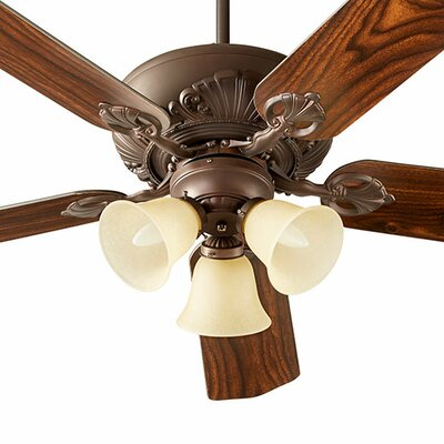 52 Chateaux 5-Blade Ceiling Fan Shade Finish: Amber Scavo, Finish: Oiled Bronze