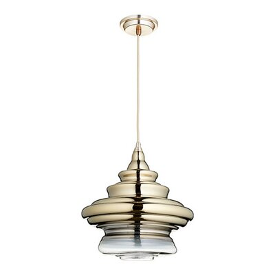 1-Light Mini Pendant Finish: Satin Gold, Shade Color: Light Gold Ombre