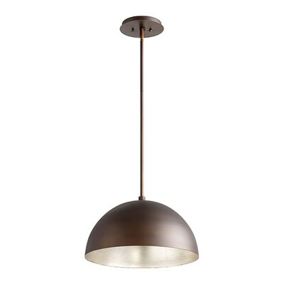 1-Light Mini Pendant Size: 10.5 H x 16 W x 16 D, Shade Color: Oiled Bronze/Aged Silver Leaf