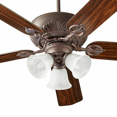 60 Chateaux 5-Blade Ceiling Fan Shade Finish: Faux Alabaster, Finish: Toasted Sienna