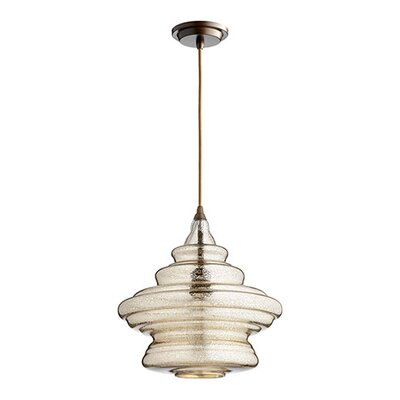 1-Light Mini Pendant Finish: Oiled Bronze, Shade Color: Silver Mercury