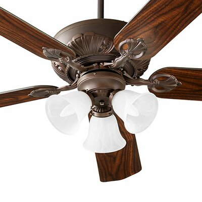60 Chateaux 5-Blade Ceiling Fan Shade Finish: Faux Alabaster, Finish: Oiled Bronze