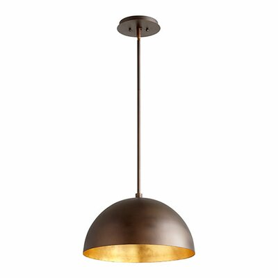1-Light Mini Pendant Shade Color: Oiled Bronze/Gold Leaf, Size: 10.5 H x 16 W x 16 D
