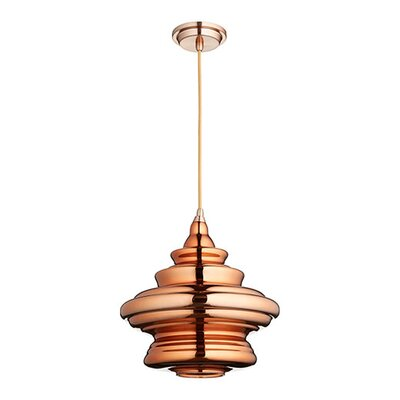 1-Light Mini Pendant Shade Color: Copper, Finish: Satin Copper