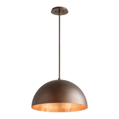 1-Light Mini Pendant Shade Color: Oiled Bronze/Copper Leaf, Size: 12.5 H x 20 W x 20 D