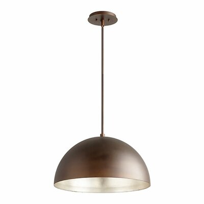 1-Light Mini Pendant Shade Color: Oiled Bronze/Aged Silver Leaf, Size: 12.5 H x 20 W x 20 D