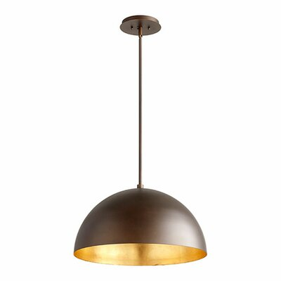 1-Light Mini Pendant Shade Color: Oiled Bronze/Gold Leaf, Size: 12.5 H x 20 W x 20 D