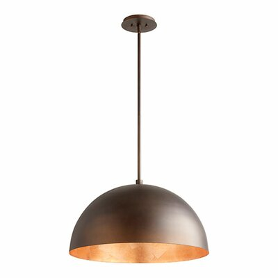 1-Light Mini Pendant Shade Color: Oiled Bronze/Copper Leaf, Size: 13.75 H x 23.75 W x 23.75 D