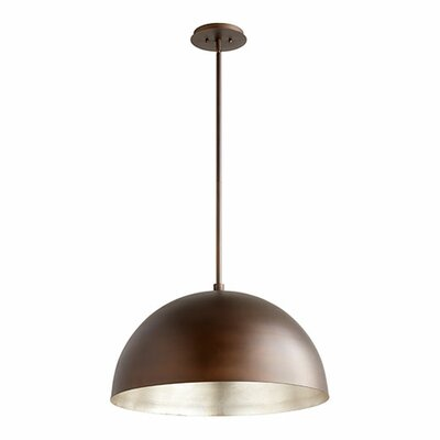 1-Light Mini Pendant Shade Color: Oiled Bronze/Aged Silver Leaf, Size: 13.75 H x 23.75 W x 23.75 D