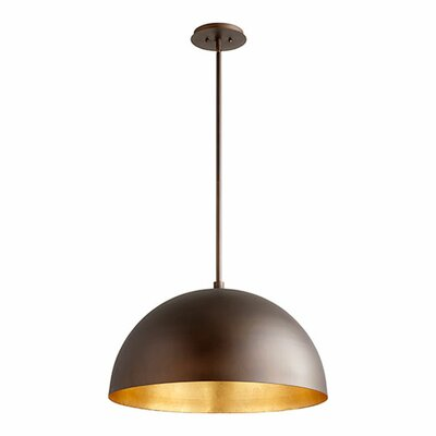 1-Light Mini Pendant Shade Color: Oiled Bronze/Gold Leaf, Size: 13.75 H x 23.75 W x 23.75 D