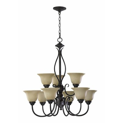 Spencer 9-Light Shaded Chandelier Finish: Old World
