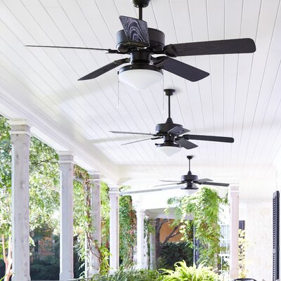 52 Estate 5-Blade Patio Ceiling Fan Finish: Matte Black