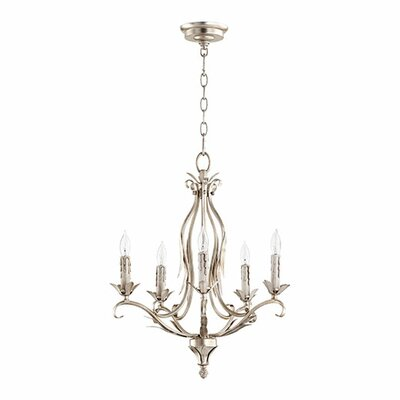 Flora 5-Light Candle-Style Chandelier Finish: Aged Silver Leaf