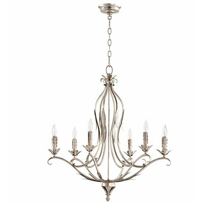 Flora 6-Light Candle-Style Chandelier Finish: Aged Silver Leaf