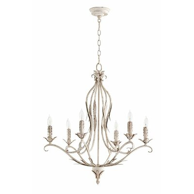 Flora 6-Light Candle-Style Chandelier Finish: Persian White