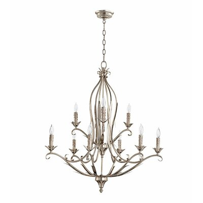 Flora 9-Light Candle-Style Chandelier Finish: Aged Silver Leaf