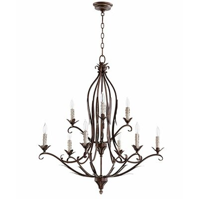 Flora 9-Light Candle-Style Chandelier Finish: Vintage Copper