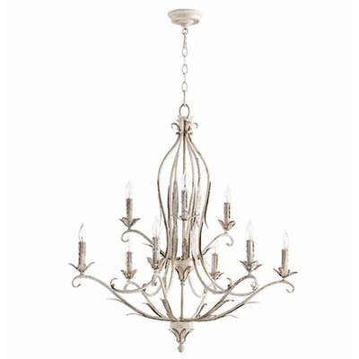 Flora 9-Light Candle-Style Chandelier Finish: Persian White