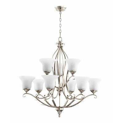 Flora 9-Light Shaded Chandelier Finish: Aged Silver Leaf