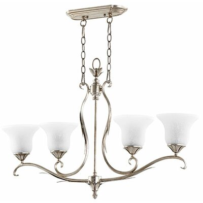 Flora 4-Light Kitchen Island Pendant Finish: Aged Silver Leaf
