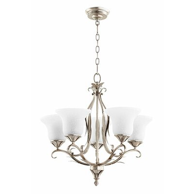 Flora 5-Light Shaded Chandelier Finish: Aged Silver Leaf