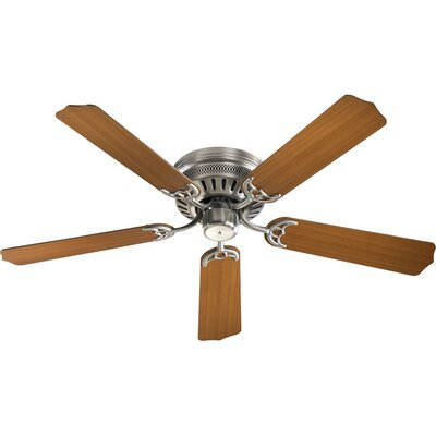 52 5-Blade Custom Hugger Ceiling Fan Finish: Satin Nickel with Teak / Walnut Blades