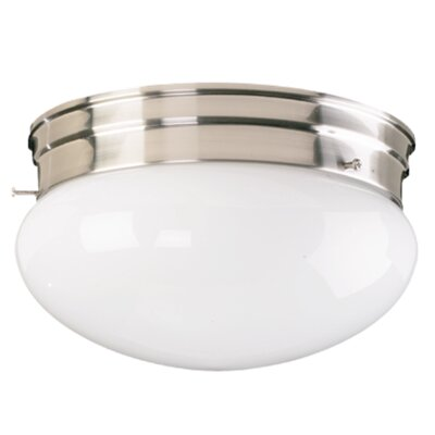 Plain Mushroom Flush Mount Size: 4.25 H x 6.75 W, Finish: Satin Nickel