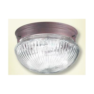 Ribbed Mushroom Flush Mount Size: 5.5 H x 9.5 W, Finish: Cobblestone