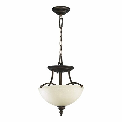 Eastchester 2-Light Convertible Inverted Pendant Finish: Oiled Bronze w/ Satin Opal
