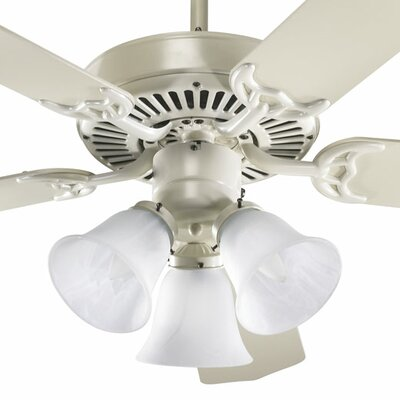 52 Staffordshire 5-Blade Ceiling Fan Finish: Antique White with Antique White Blades, Glass Type: Faux Alabaster Glass