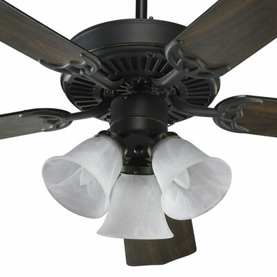 Low Price 52 inches Capri 5 Blade Ceiling Fan Finish: Old World with Old World/Walnut Blades, Glass Type: Faux Alabaster Glass