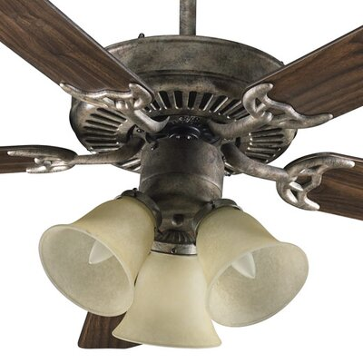 52 Staffordshire 5-Blade Ceiling Fan Finish: Mystic Silver with Mystic Silver / Pecan Blades, Glass Type: Amber Scavo Glass