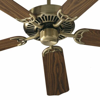 52 Capri 5-Blade Energy Star Ceiling Fan Finish: Antique Brass with Medium / Dark Oak Blades, Shade Color: Clear