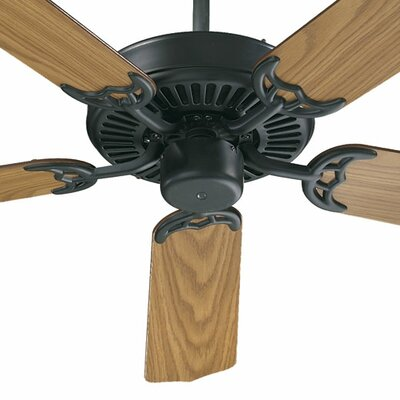 52 Staffordshire 5-Blade Energy Star Ceiling Fan Finish: Matte Black with Medium Oak/Walnut Blades
