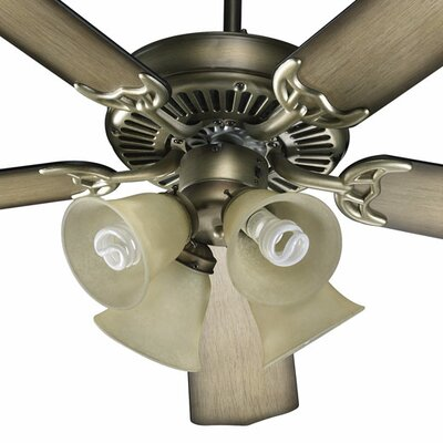 Low Price 52 inches Capri V 5 Blade Ceiling Fan Finish: Antique Flemish with Flemish / Pecan Blades, Glass Type: Amber Scavo Glass