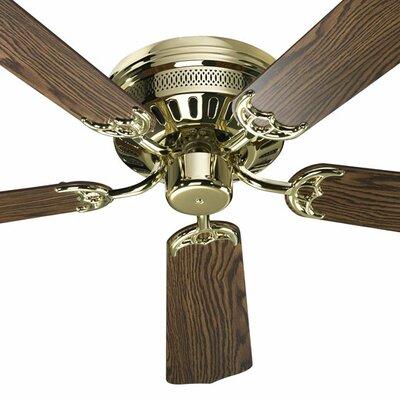 52 5-Blade Custom Hugger Ceiling Fan Finish: Polished Brass with Dark/Medium Oak Blades