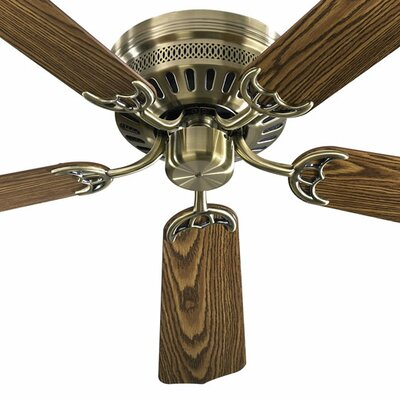 52 5-Blade Custom Hugger Ceiling Fan Finish: Antique Brass with Dark/Medium Oak Blades