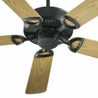 52 Estate Patio 5 Blade Ceiling Fan - Energy Star Finish: Matte Black with Medium Oak Blades