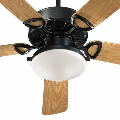 52 Estate 5-Blade Patio Ceiling Fan Finish: Matte Black with Medium Oak Blades