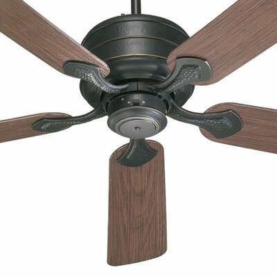 52 Hanover 5-Blade Patio Ceiling Fan Finish: Old World with Walnut Blades
