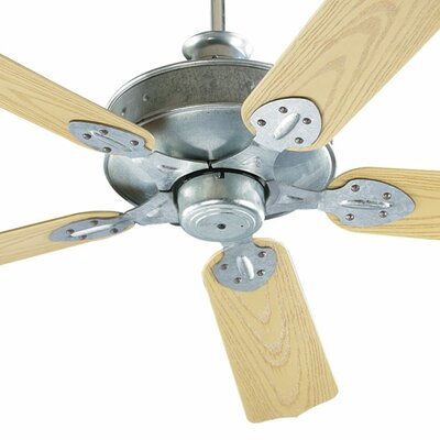 52 Hudson 5-Blade Patio Ceiling Fan Finish: Galvanized with Medium Oak Blades