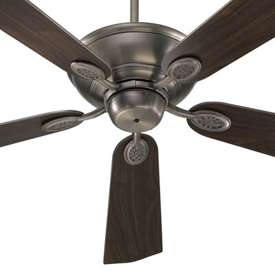 52 Kingsley 5-Blade Ceiling Fan Finish: Antique Silver with Silver / Walnut Blades
