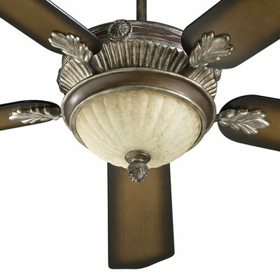 52 Galloway 5-Blade Ceiling Fan with Remote Finish: Mystic Silver with Mystic Silver / Pecan Blades