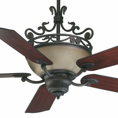 56 Turino 5-Blade Ceiling Fan with Wall Control Finish: Toasted Sienna with Rosewood/Walnut Blades