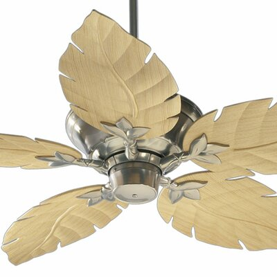 52 Monaco 5-Blade Patio Ceiling Fan Finish: Satin Nickel with Maple Blades