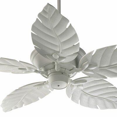 52 Monaco 5-Blade Patio Ceiling Fan Finish: Studio White with White Blades