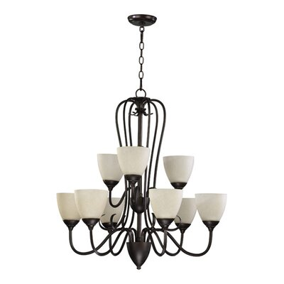 Powell 9-Light Shaded Chandelier Finish: Toasted Sienna, Shade Color: Amber Scavo