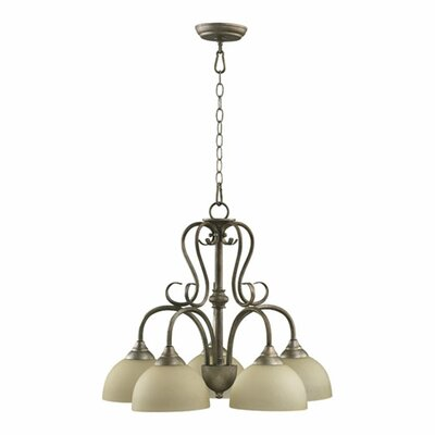 Powell 5-Light Shaded Chandelier Finish: Mystic Silver, Shade Color: Amber Scavo